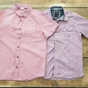 (2) Boys Red (14) Short Sleeve Button Downs